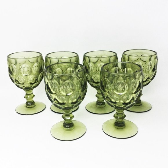Vintage Green Amber Glass Water Goblets Set of 6